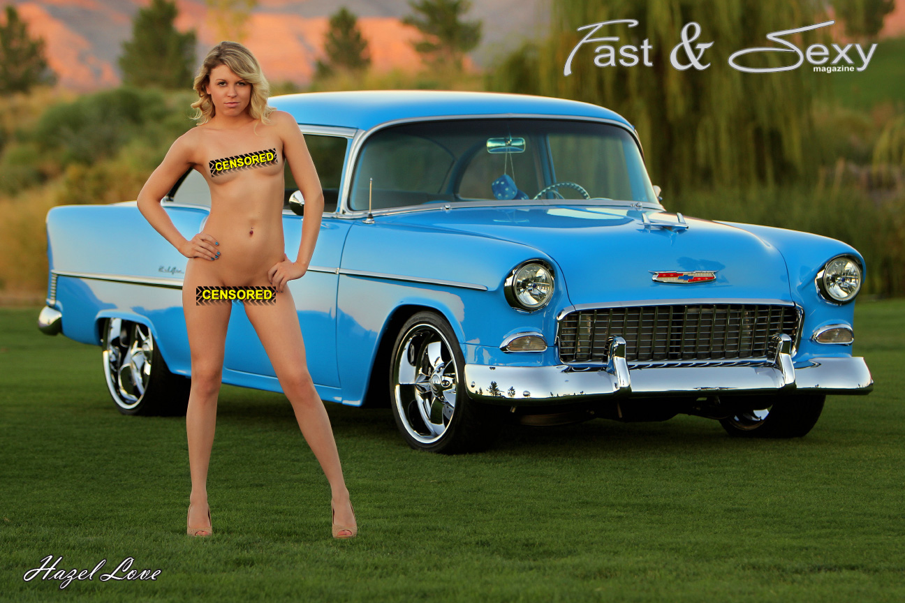 Nude girl with 55 Chevy