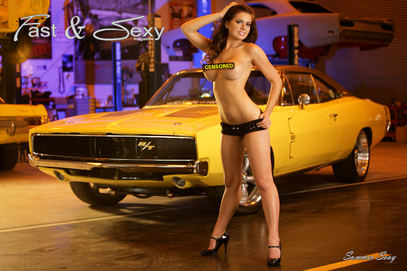 Summer Seay Topless with Muscle Car Poster